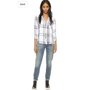 Rails Sz Md White and Blue Button Flannel